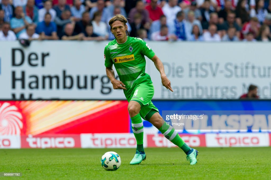 Jannik Vestergaard of Moenchengladbach controls the ball during the Bundesliga match between Hamburger SV and Borussia Moenchengladbach at Volksparkstadion on May 12, 2018 in Hamburg, Germany.