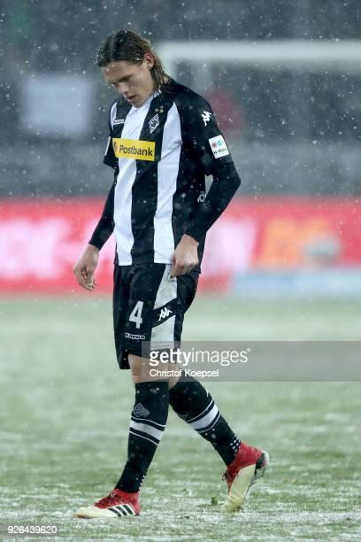 Jannik Vestergaard of Moenchengladbach looks dejected after the Bundesliga match between Borussia Moenchengladbach and SV Werder Bremen at...