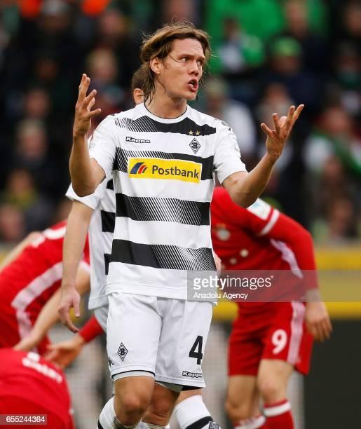 Jannik Vestergaard of Moenchengladbach reacts during the Bundesliga Match between Borussia Moenchengladbach and Bayern Munich at BorussiaPark on...
