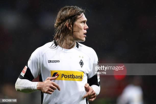 Jannik Vestergaard of Moenchengladbach reacts during the Bundesliga match between Bayer 04 Leverkusen and Borussia Moenchengladbach at BayArena on...
