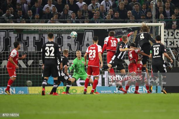 Jannik Vestergaard of Moenchengladbach scored a header goal to make it 11 during the Bundesliga match between Borussia Moenchengladbach and 1 FSV...