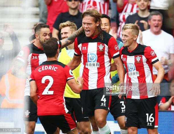 Jannik Vestergaard of Southampton celebrates after scoring his team's first goal during the Premier League match between Southampton FC and...