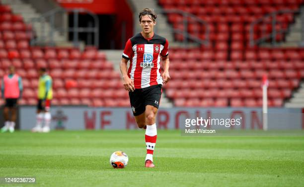 Jannik Vestergaard of Southampton during a friendly match between Southampton FC and Bristol City ahead of the Premier League restart at St Mary's...