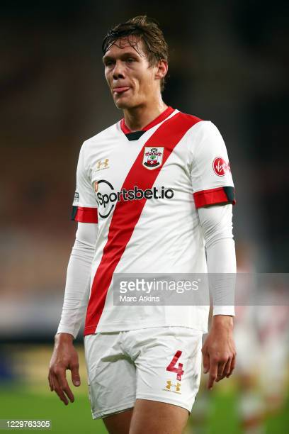 Jannik Vestergaard of Southampton during the Premier League match between Wolverhampton Wanderers and Southampton at Molineux on November 23, 2020 in...