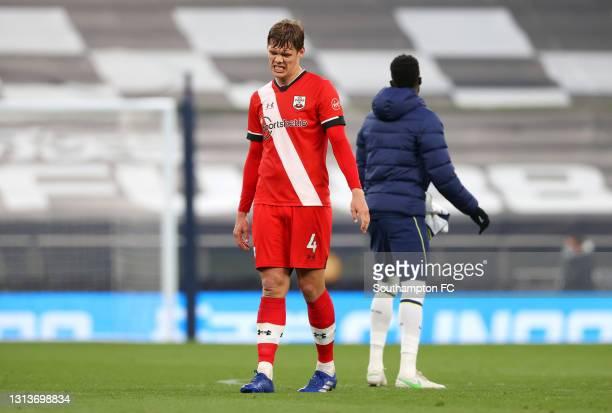 Jannik Vestergaard of Southampton reacts to defeat after the Premier League match between Tottenham Hotspur and Southampton at Tottenham Hotspur...