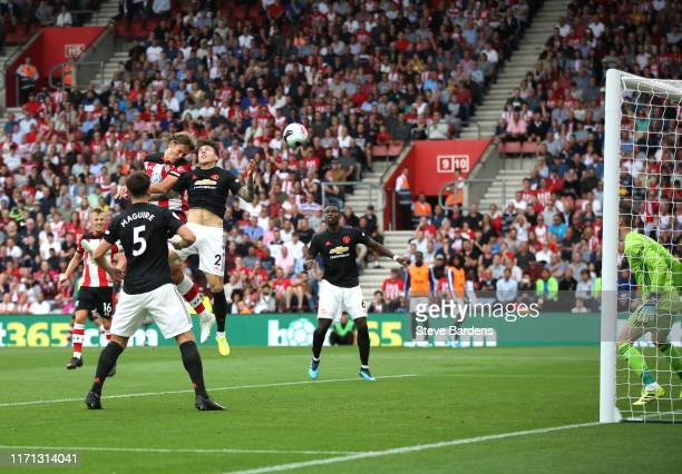Jannik Vestergaard of Southampton scores his team's first goal during the Premier League match between Southampton FC and Manchester United at St...