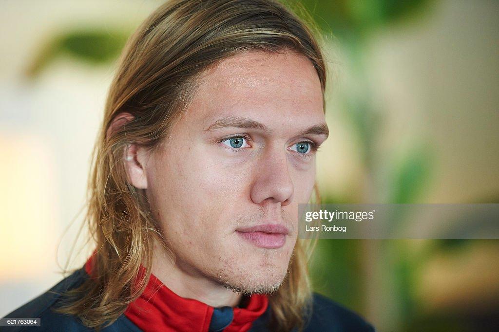 Jannik Vestergaard speaks to the media prior to the Denmark training session at Gelsingor Stadion on November 8, 2016 in Helsingor, Denmark.