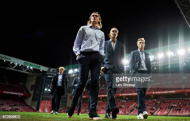 Jannik Vestergaard Yussuf Poulsen and Viktor Fischer of Denmark walking on the pitch prior to the FIFA 2018 World Cup Qualifier PlayOff First Leg...