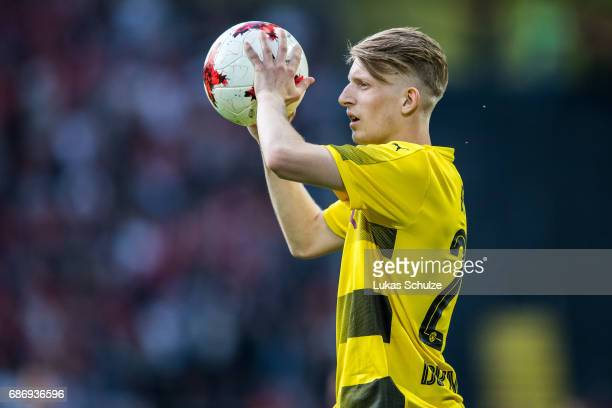 JanNiklas Beste of Dortmund holds the ball during the U19 German Championship Final between Borussia Dortmund and FC Bayern Muenchen on May 22 2017...