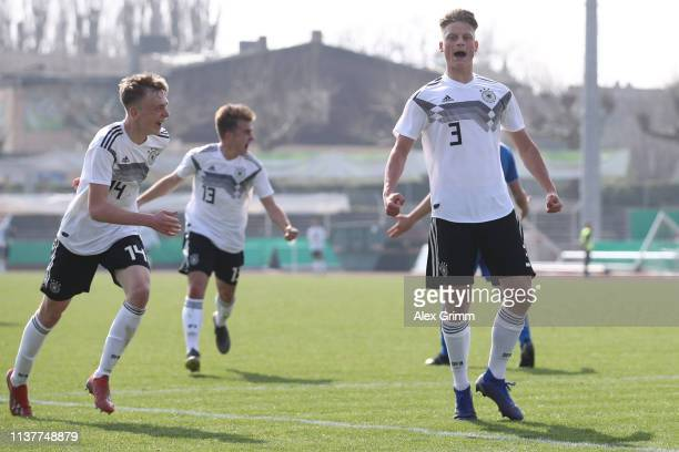 Jannis Lang of Germany U17 celebrates his team's third goal during the UEFA Elite Round match between Germany U17 and Iceland U17 at EWR Arena on...