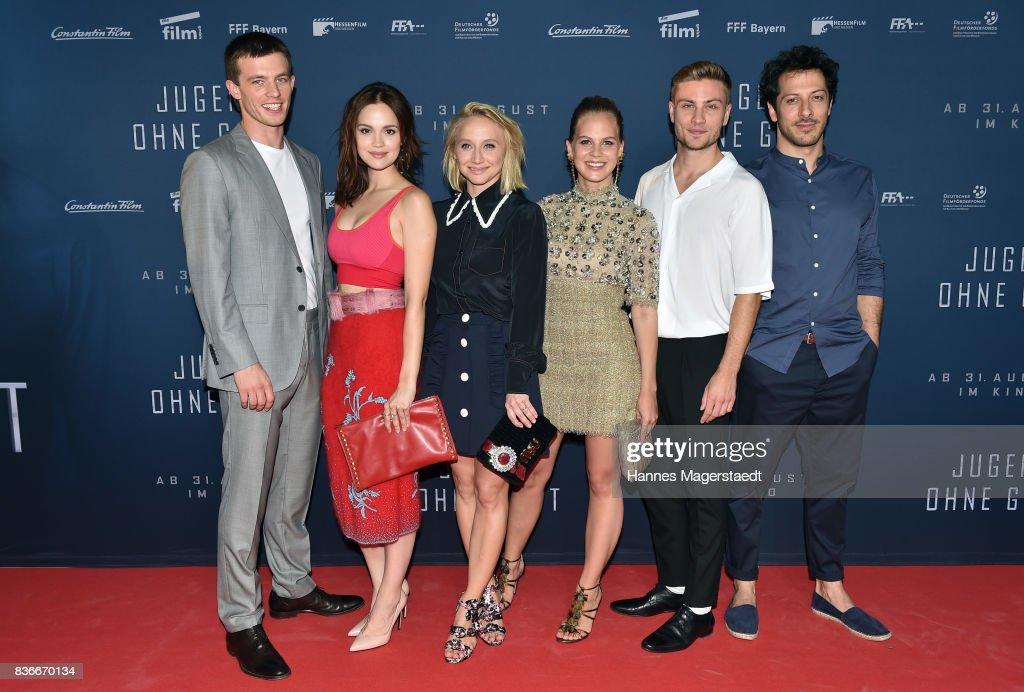 Jannis Niewoehner, Emilia Schuele, Anna Maria Muehe, Alicia von Rittberg, Jannik Schuemann and Fahri Yardim during the 'Jugend ohne Gott' premiere at Mathaeser Filmpalast on August 21, 2017 in Munich, Germany.