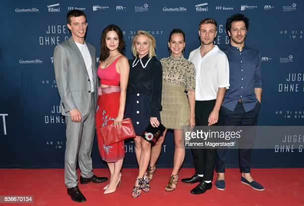 Jannis Niewoehner, Emilia Schuele, Anna Maria Muehe, Alicia von Rittberg, Jannik Schuemann and Fahri Yardim during the 'Jugend ohne Gott' premiere at...