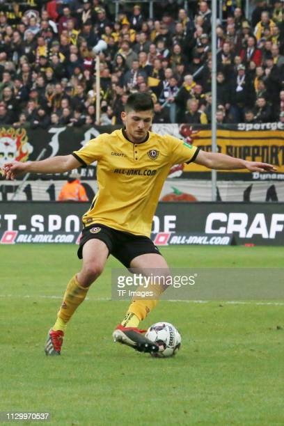 Jannis Nikoladou of Dynamo Dresden controls the ball during the second Bundesliga match between Dynamo Dresden and VfL Bochum 1848 at...