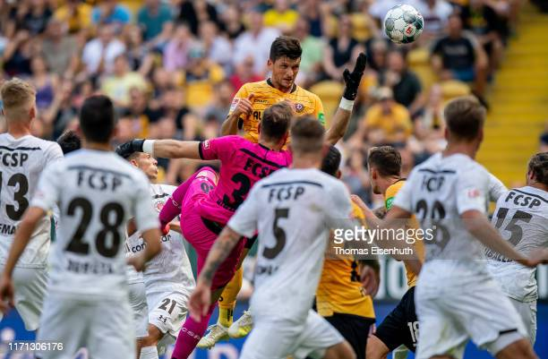 Jannis Nikolaou of Dresden scores his team's first goal during the Second Bundesliga match between SG Dynamo Dresden and FC St. Pauli at...