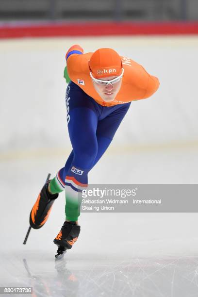 Janno Botman of Netherlands performs during the Men 1500 Meter at the ISU ISU Junior World Cup Speed Skating at Max Aicher Arena on November 26 2017...