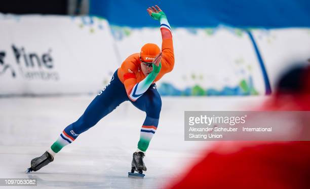 Janno Botman of the Netherlands competes in the Mens 500m sprint race during the ISU Junior World Cup Speed Skating Final Day 2 on February 9 2019 in...
