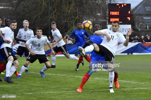 Jano Baxmann of Germany fights for the ball during the international friendly match between France U18 and Germany U18 on March 23 2017 in Chauny...