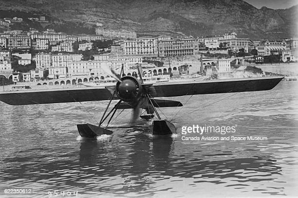 L Janoir in a float plane designed by Deperdussin off the shore of Monaco He failed to qualify for the French team of the 1914 Coupe Schneider race