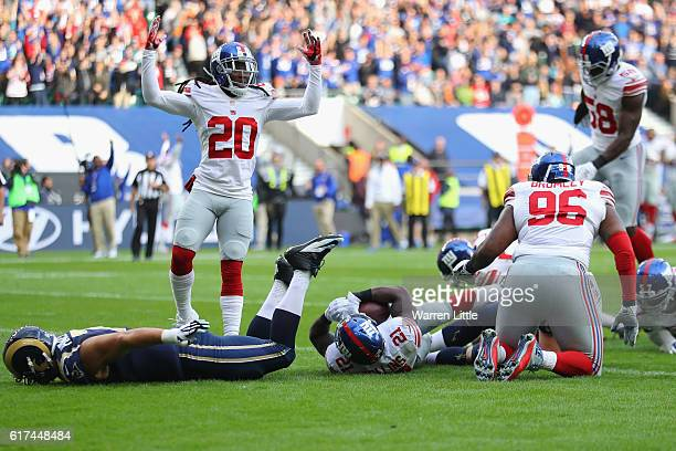 Janoris Jenkins celebrates the touchdown of Landon Collins of the New York Giants during the NFL International Series match between New York Giants...