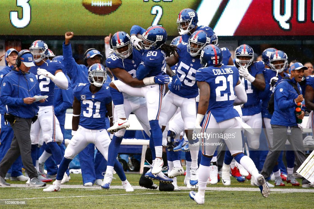 Janoris Jenkins #20 of the New York Giants celebrates with teammates after an interception in the first quarter against the Jacksonville Jaguars at MetLife Stadium on September 9, 2018 in East Rutherford, New Jersey.