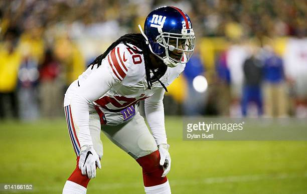 Janoris Jenkins of the New York Giants plays cornerback in the third quarter against the Green Bay Packers at Lambeau Field on October 9 2016 in...