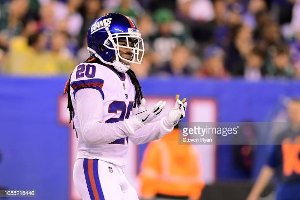 Janoris Jenkins of the New York Giants reacts against the Philadelphia Eagles at MetLife Stadium on October 11 2018 in East Rutherford New Jersey The...