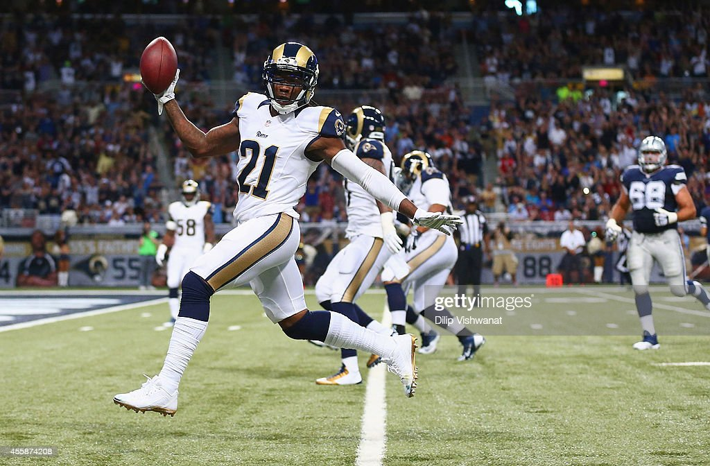 Janoris Jenkins #21 of the St. Louis Rams returns an interception for a touchdown in the second against the Dallas Cowboys at the Edward Jones Dome on September 21, 2014 in St. Louis, Missouri.