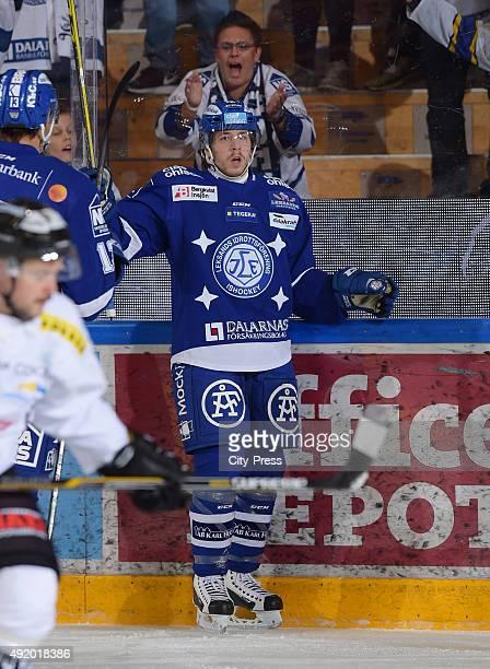 Janos Hari of Leksands IF during the HockeyAlsvenskan game between Leksands IF against Asploeven HC on October 9, 2015 in Leksand, Sweden.