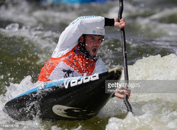 Janos Peterlin of Slovakia competes in the Men's K1 final during the ICF Canoe Slalom World Cup at Cardiff International White Water on June 9 2012...