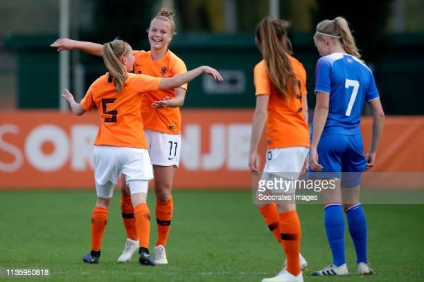 Janou Levels of Holland Women U19, Kirsten van de Westeringh of Holland Women U19, Joelle Smits of Holland Women U19, Hlin Eiriksdottir of Iceland...