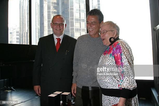 JanPatrick Schmitz Chico Buarque and Dr Rita Simo attend Montblanc De La Culture Award Ceremony at Dizzy Gilespie's Club at Jazz at Lincoln Center on...