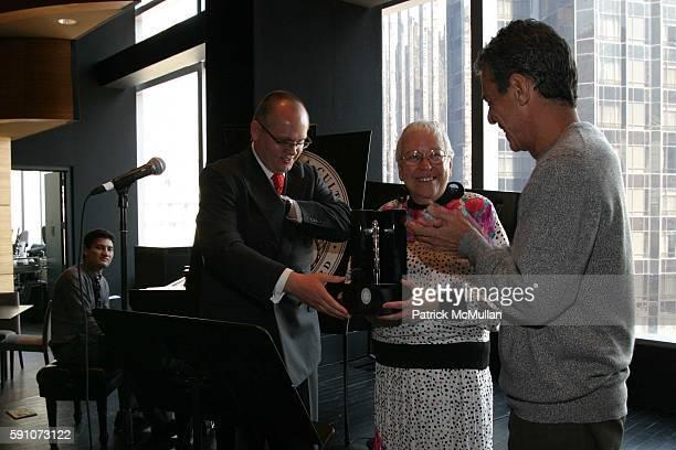 JanPatrick Schmitz Dr Rita Simo and Chico Buarque attend Montblanc De La Culture Award Ceremony at Dizzy Gilespie's Club at Jazz at Lincoln Center on...