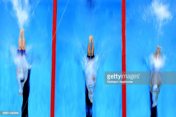 JanPhilip Glania of Germany Evgeny Rylov of Russia and Jiayu Xu of China compete in the Men's 200m Backstroke heat on Day 5 of the Rio 2016 Olympic...