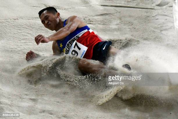 Janry Ubas of the Philippines in action during the Men Long Jump Final at Bukit Jalil National Stadium as part of the 2017 SEA Games on August 24...