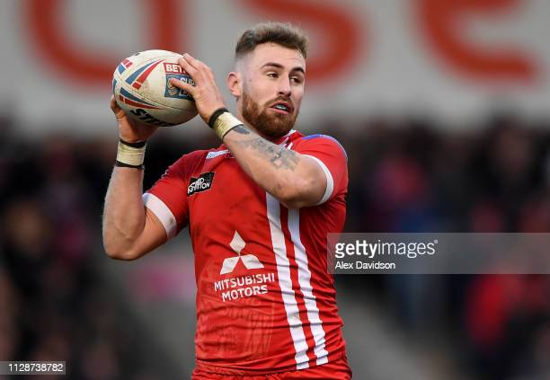 Jansin Turget of Salford Red Devils with the ball during the Betfred Super League match between Salford Red Devils and London Broncos at AJ Bell...