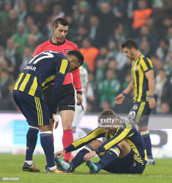 Janssen of Fenerbahce gets injured during the Turkish Super Lig soccer match between Bursaspor and Fenerbahce at Timsah Arena in Bursa Turkey on...