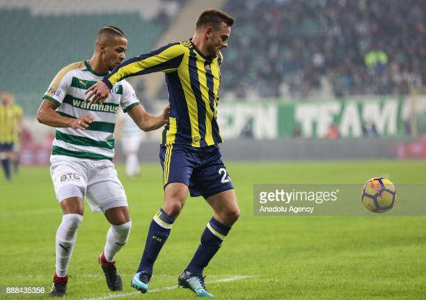 Janssen of Fenerbahce in action during the Turkish Super Lig soccer match between Bursaspor and Fenerbahce at Timsah Arena in Bursa Turkey on...