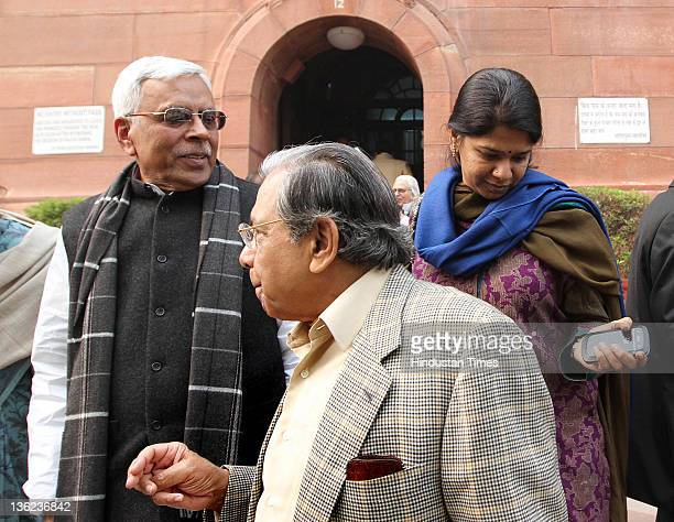 Janta Dal MPs Shivan and Tiwari and NK Singh with Kanimozhi DMK Party Rajya sabha MP at Parliament House during the ongoing parliamentary winter...