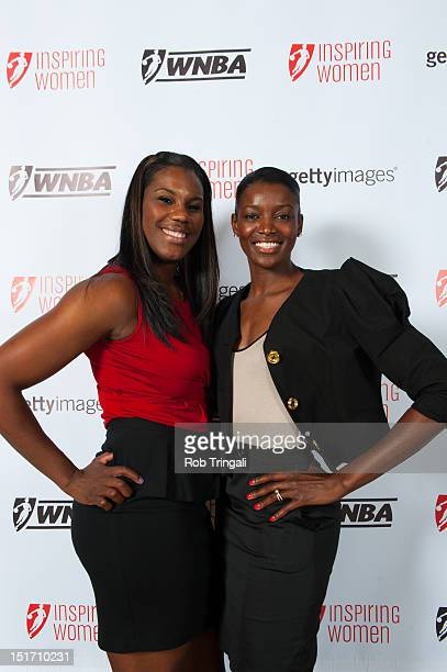 Jantel Lavender and DeLisha MiltonJones of the LA Sparks pose during the WNBA Inspiring Women Luncheon at Pier Sixty at Chelsea Piers on September 10...