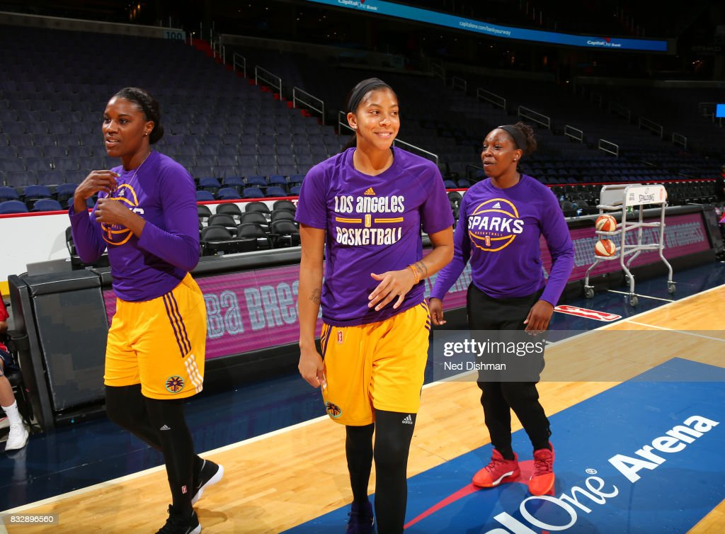 Jantel Lavender #42, Candace Parker #3 and Chelsea Gray #12 of the Los Angeles Sparks warm up before the game against the Washington Mystics on August 16, 2017 at the Verizon Center in Washington, DC.
