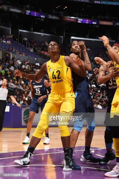 Jantel Lavender of the Los Angeles Sparks and Jessica Breland of the Atlanta Dream vie for the rebound on July 24 2018 at Staples Center in Los...