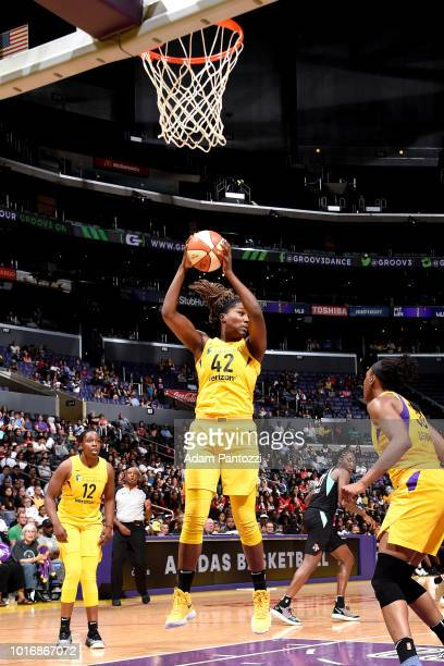 Jantel Lavender of the Los Angeles Sparks handles the ball during the game against the New York Liberty on August 14 2018 at Staples Center in Los...
