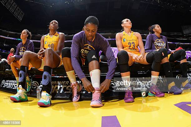 Jantel Lavender of the Los Angeles Sparks ties her shoes before the game against the Washington Mystics at STAPLES Center on September 03 2015 in Los...