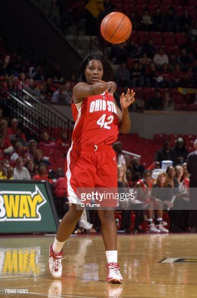 Jantel Lavender of the Ohio State Buckeyes passes the ball against the Maryland Terrapins at the Comcast Center on November 30 2007 in College Park...