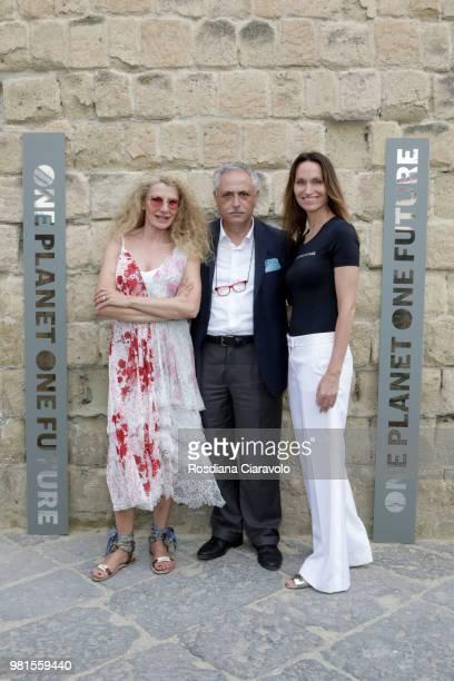 Januaria Piromallo Gaetano Daniele and Anne de Carbuccia attend One Planet One Future Cocktail Party on June 22 2018 in Naples Italy