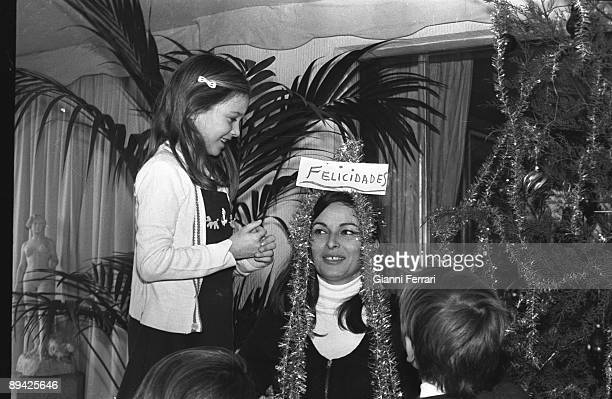 January 01 1967 Madrid Spain The actress Lucia Bose with its daughter Paola preparing the Christmas