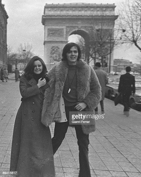 January 01 1970 Paris France Honeymoon travel of the singer and actress Rocio Durcal and her husband the singer Antonio Morales Junior At the back...