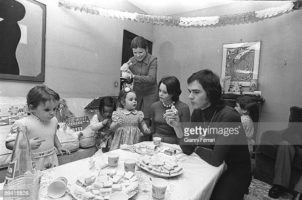 January 01 1977 Madrid Spain The actress and singer Rocio Durcal celebrating her daughter Carmen's birthday with her husband the singer Antonio...