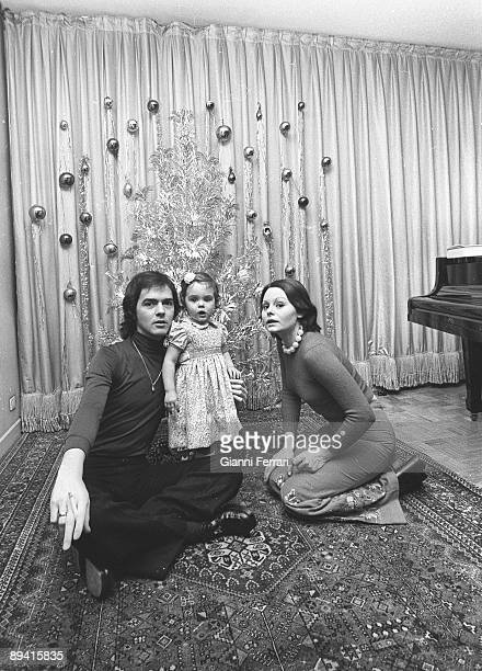 January 01 1977 Madrid Spain The singer and actress Rocio Durcal with her daughter Carmen and her husband the singer Antonio Morales Junior