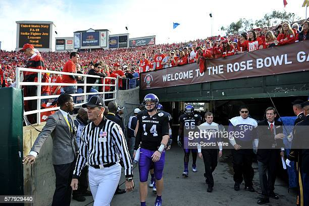 TCU Horned Frogs quarterback Andy Dalton comes out of the tunnel during the 97th Rose Bowl Game presented by VIZIO which featured the Texas Christian...